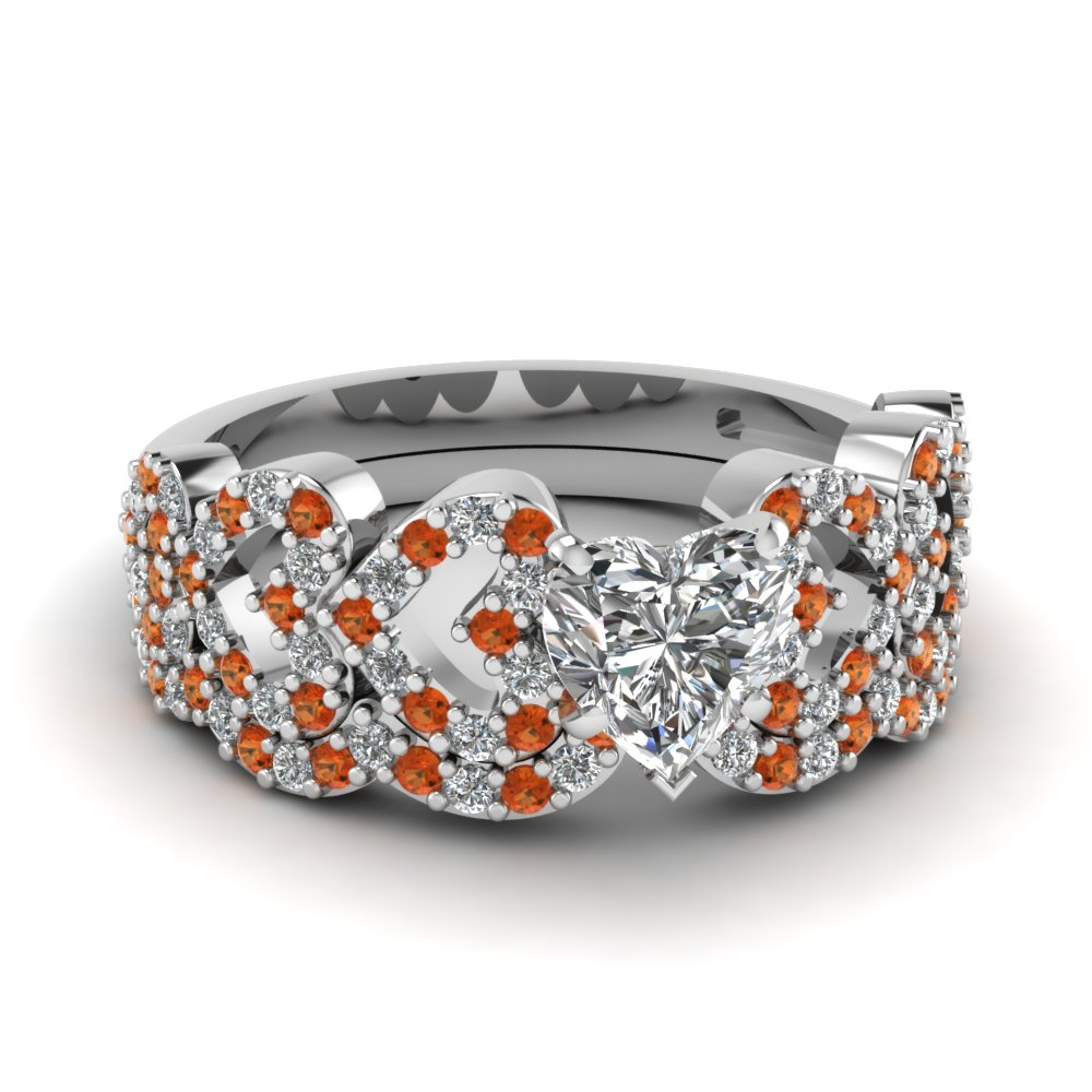 heart design linked diamond wedding set with orange sapphire in FDENS3051HTGSAOR NL WG.jpg