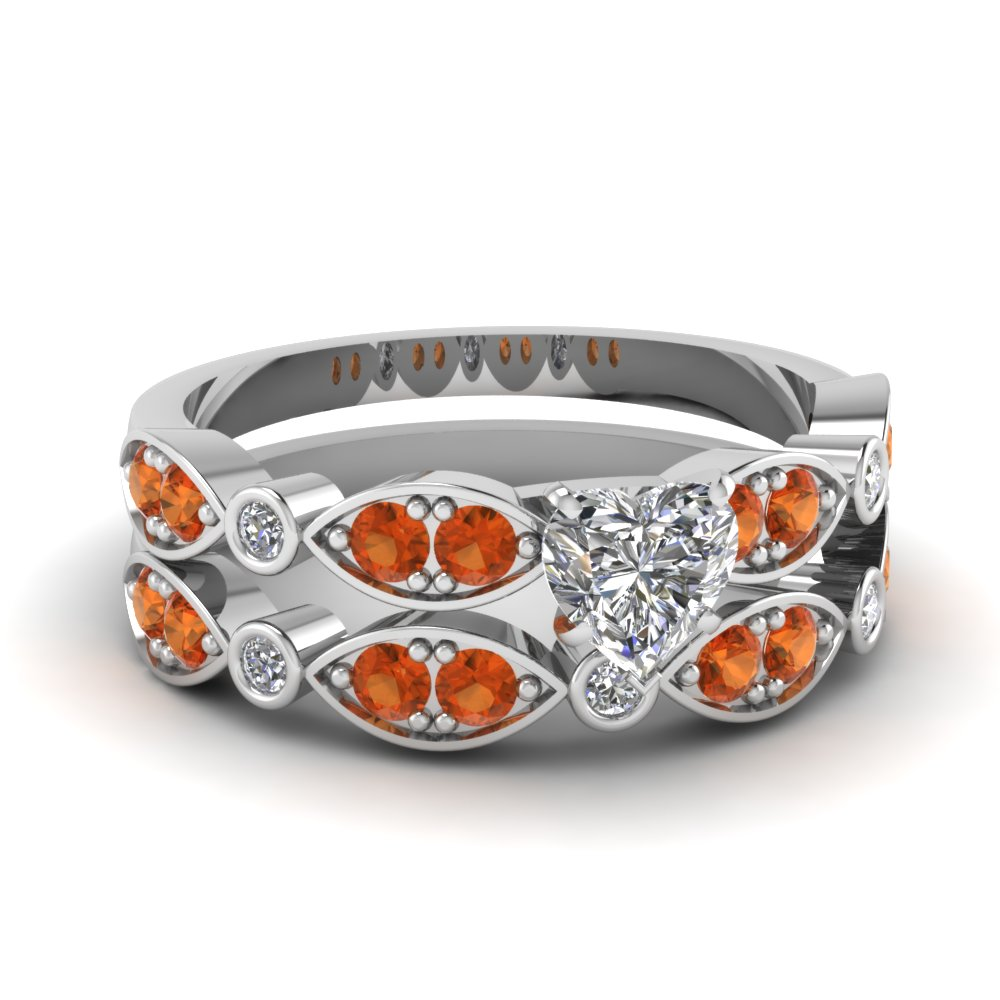art deco heart diamond wedding ring set with orange sapphire in FDENS2035HTGSAOR NL WG