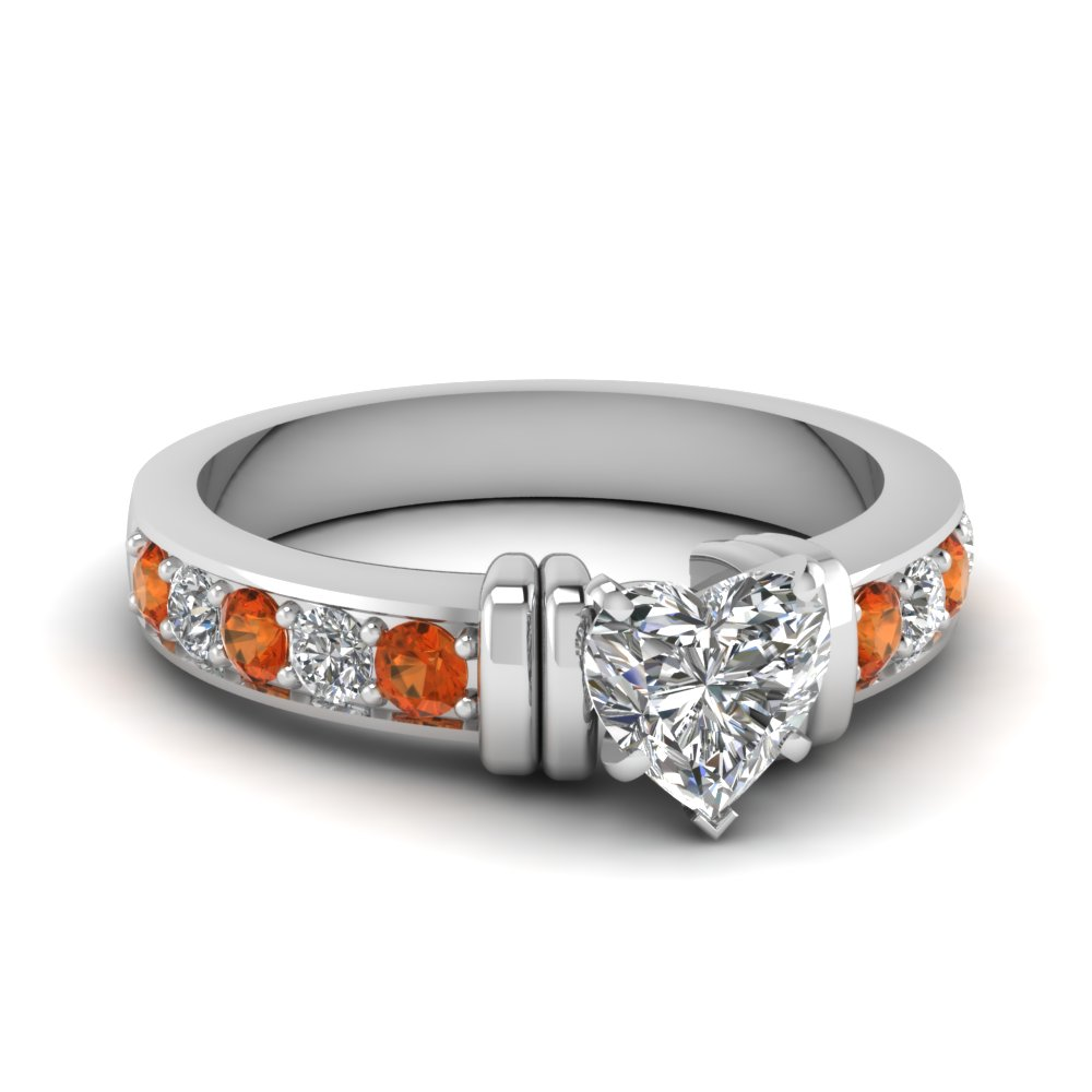 simple bar set heart moissanite engagement ring with orange sapphire in FDENR957HTRGSAOR Nl WG