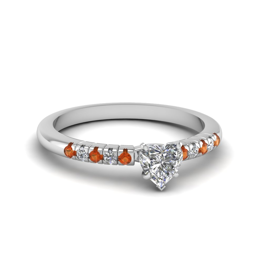 French Prong Orange Sapphire Petite Ring