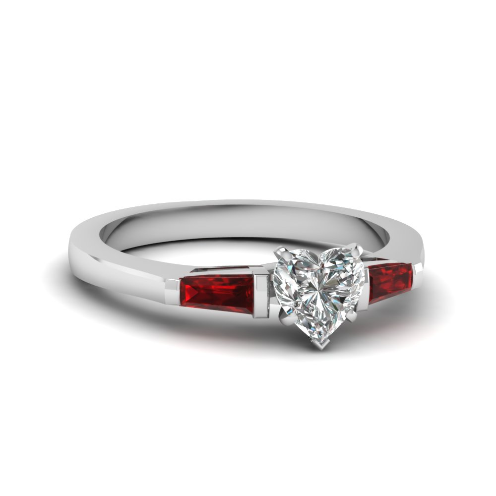 Heart Diamond Three Stone Ring with Baguettes