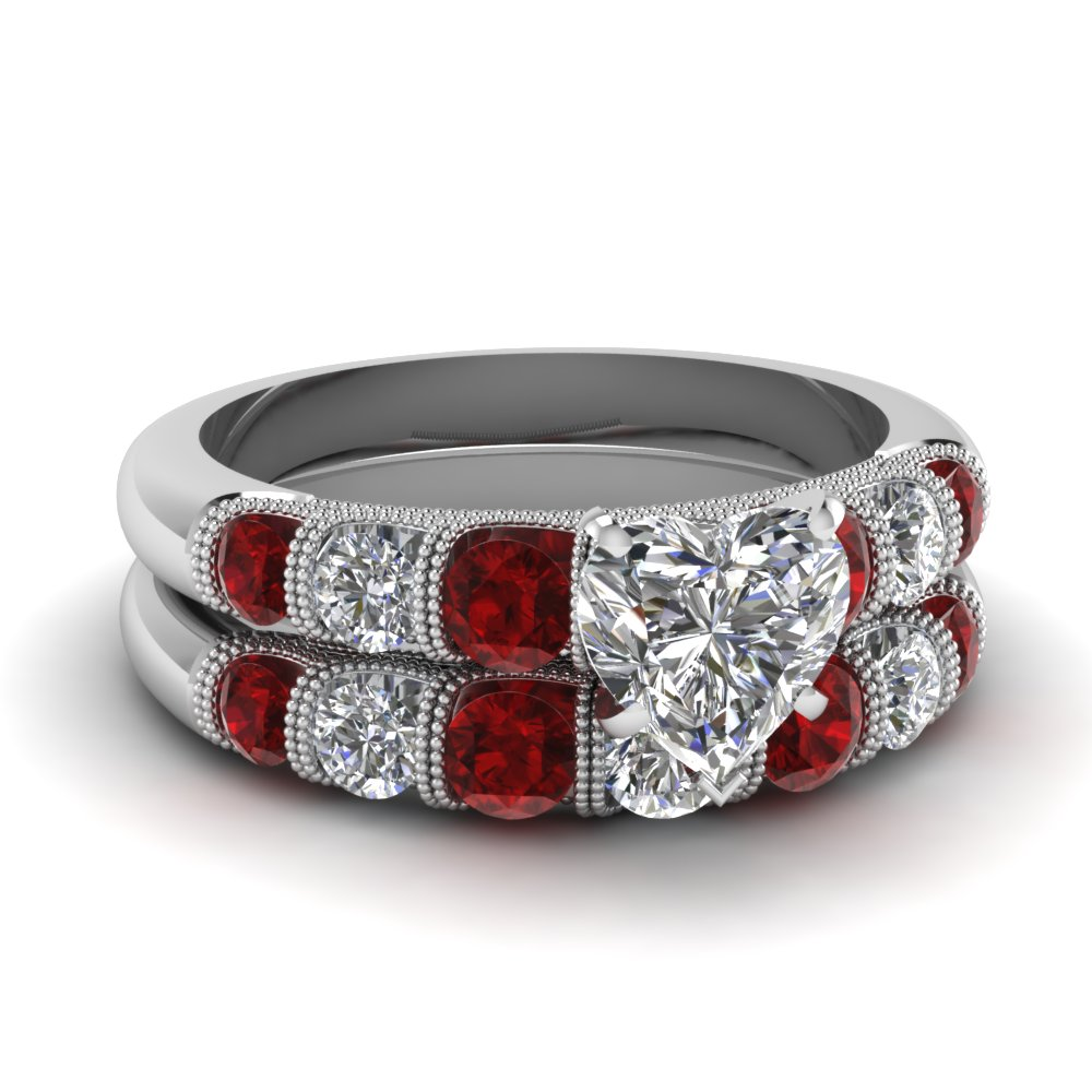 Heart Milgrain Bar Diamond Wedding Set With Ruby In 14K