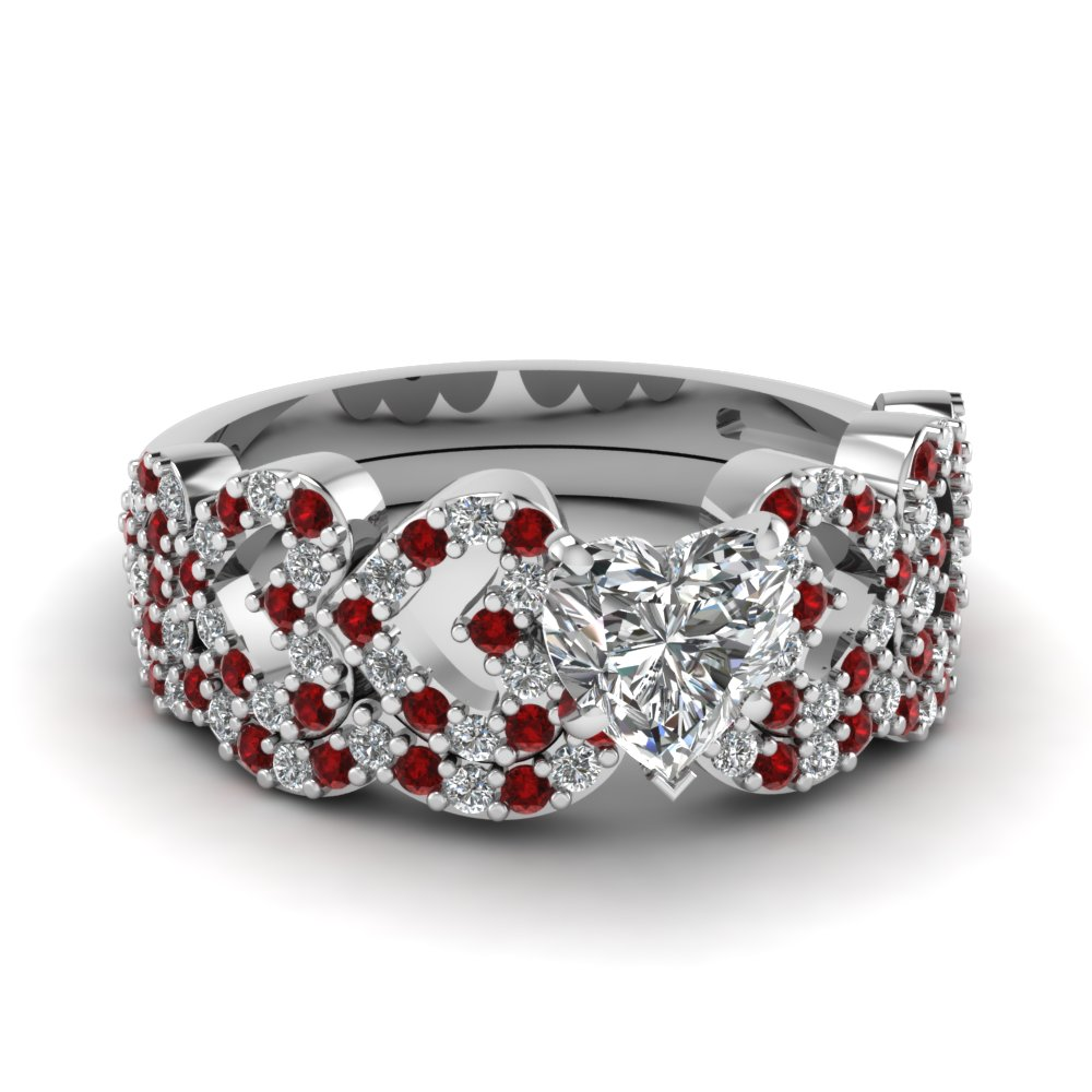 heart design linked diamond wedding set with ruby in FDENS3051HTGRUDR NL WG.jpg