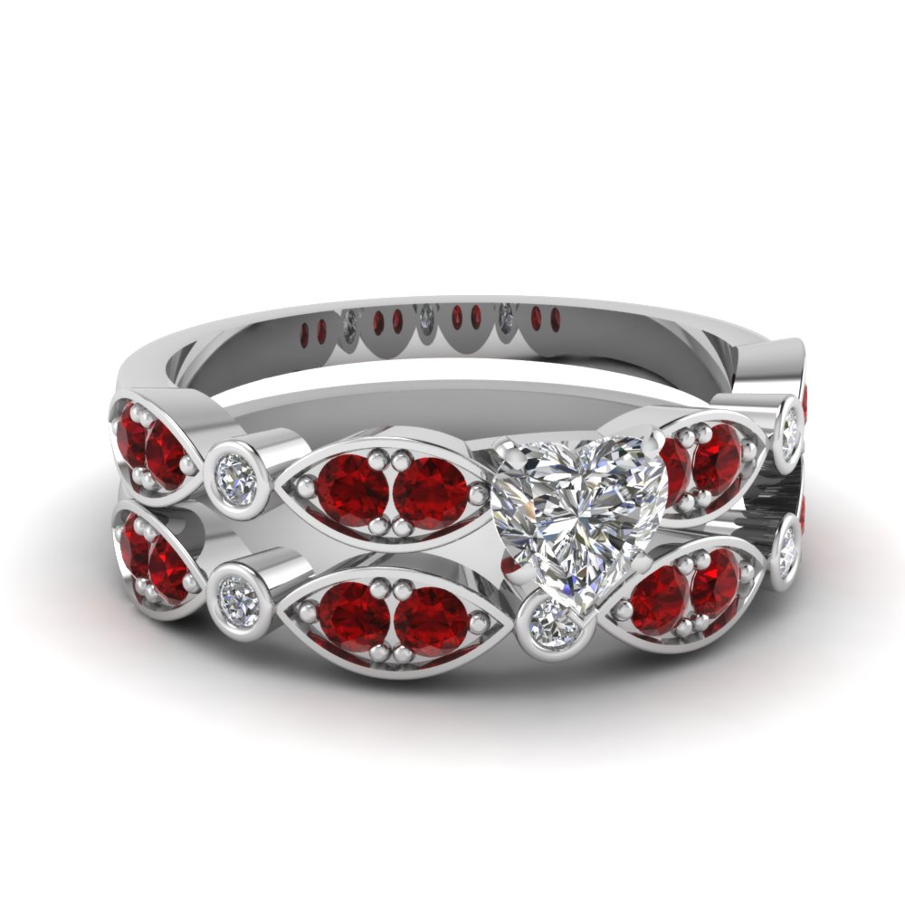 white-gold-heart-white-diamond-engagement-wedding-ring-with-red-ruby-in-pave-bezel-set-FDENS2035HTGRUDR-NL-WG