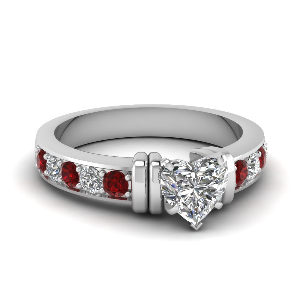 simple bar set heart lab diamond engagement ring with ruby in FDENR957HTRGRUDR Nl WG