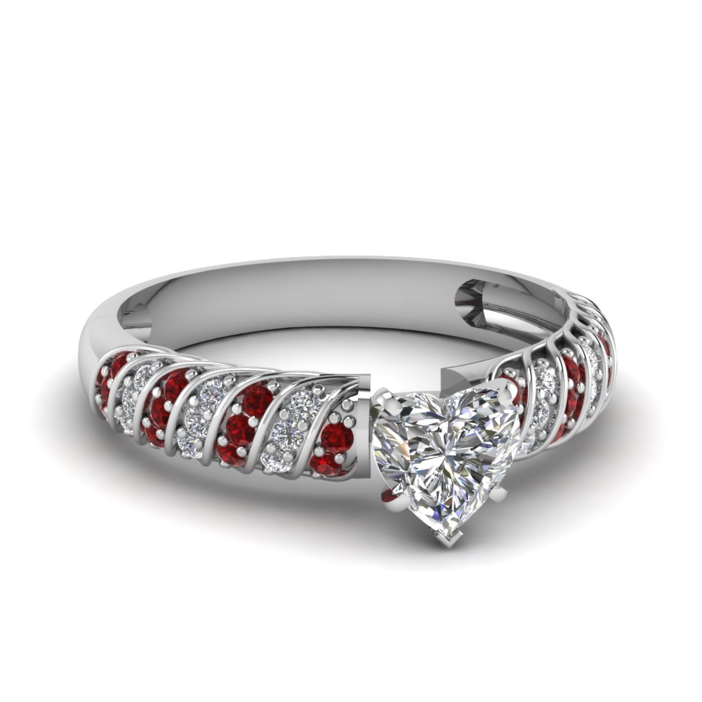 Rope Design Heart Diamond Ring With Ruby In Fdens3048htrgrudr Nl Wg 30