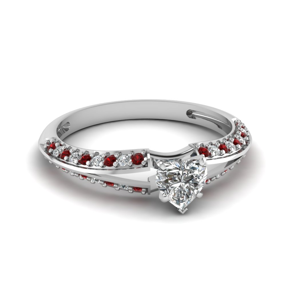 delicate split heart diamond ring with ruby in FDENS3049HTRGRUDR NL WG 30