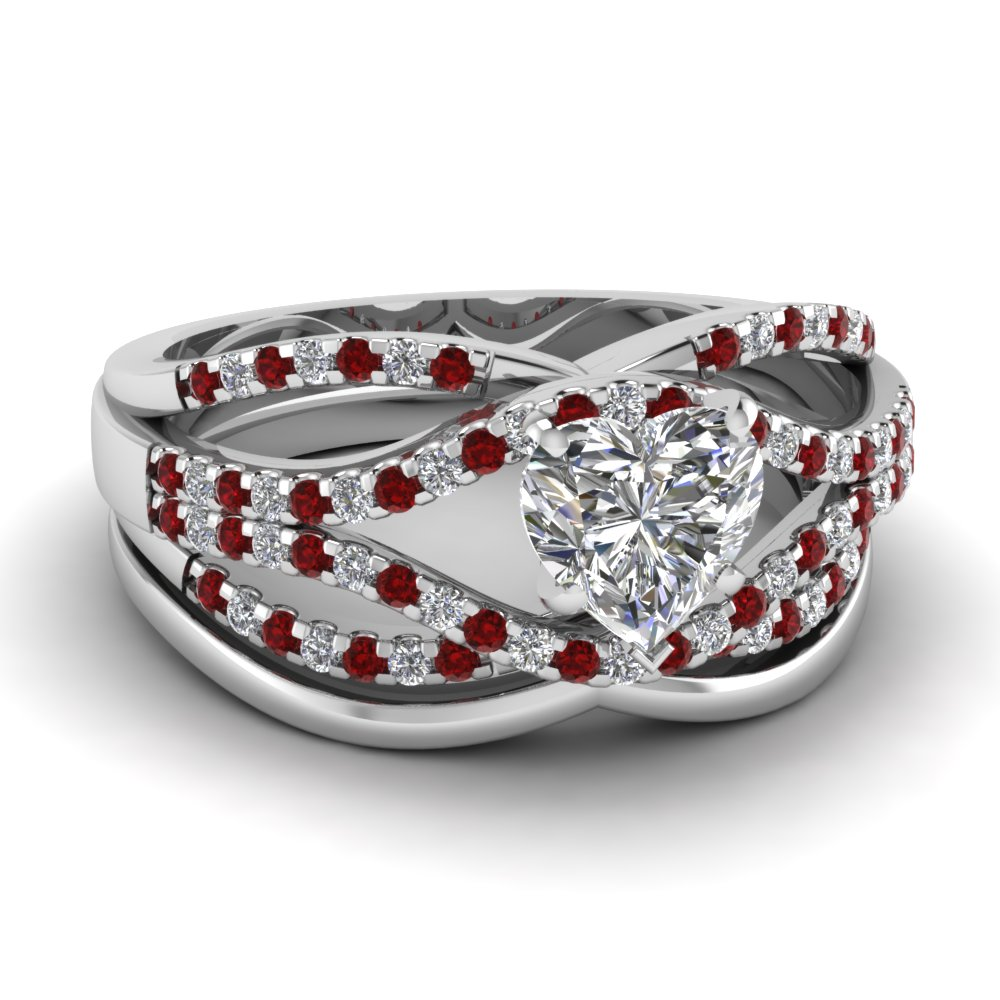Crossover Multi Strand Heart Diamond Wedding Ring Set With Ruby In