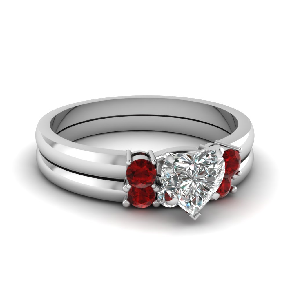 Heart Diamond 3 Stone Wedding Set With Ruby In Fdens3106htgrudr Nl Wg