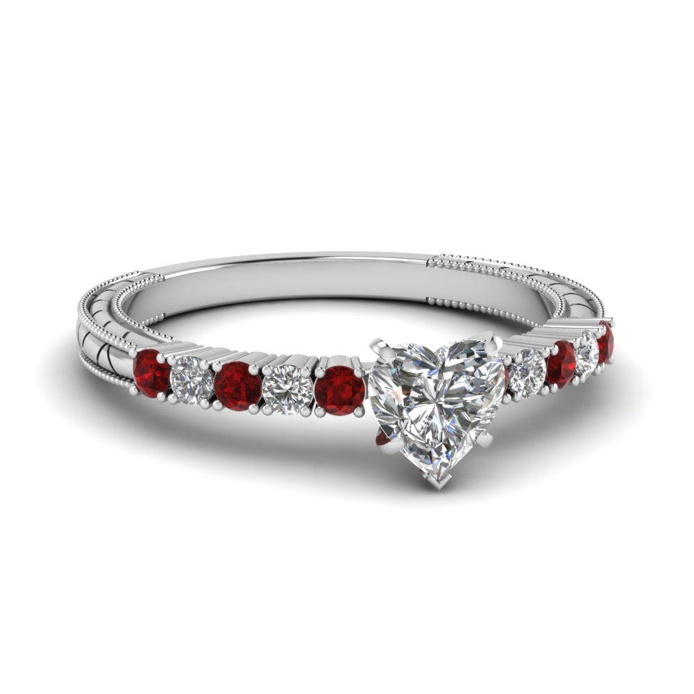 Milgrain Ruby 14k White Gold Petite Ring