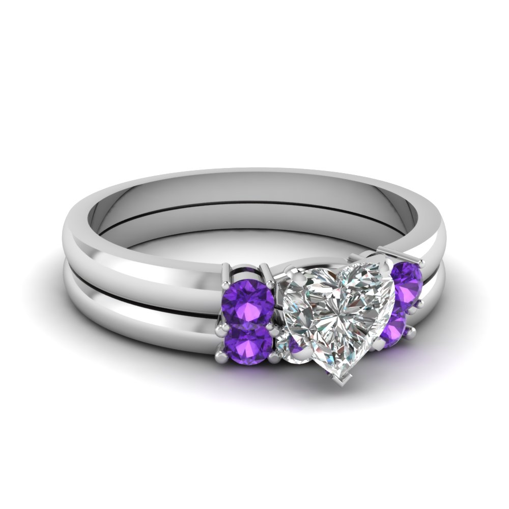 purple set engagement rings products band wedding womens amethyst in heart bride sterling silver ring diamond