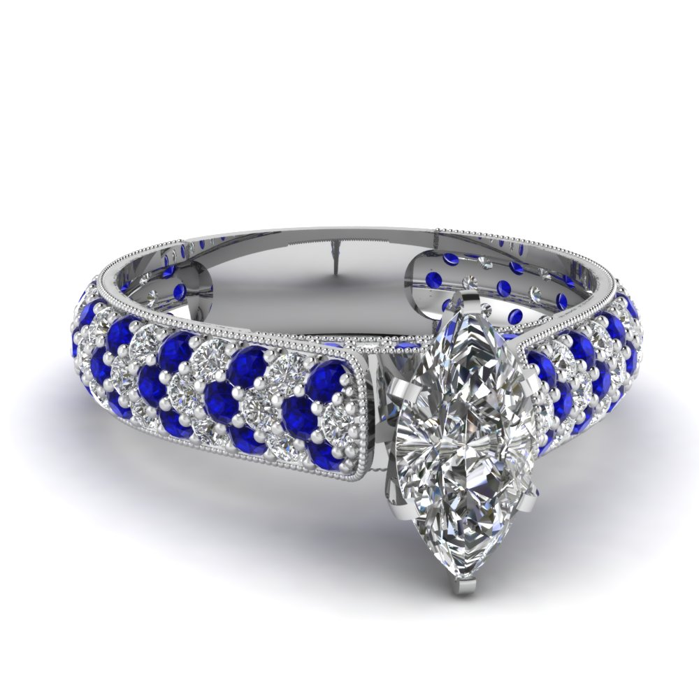 Marquise Shaped Milgrain Engagement Rings