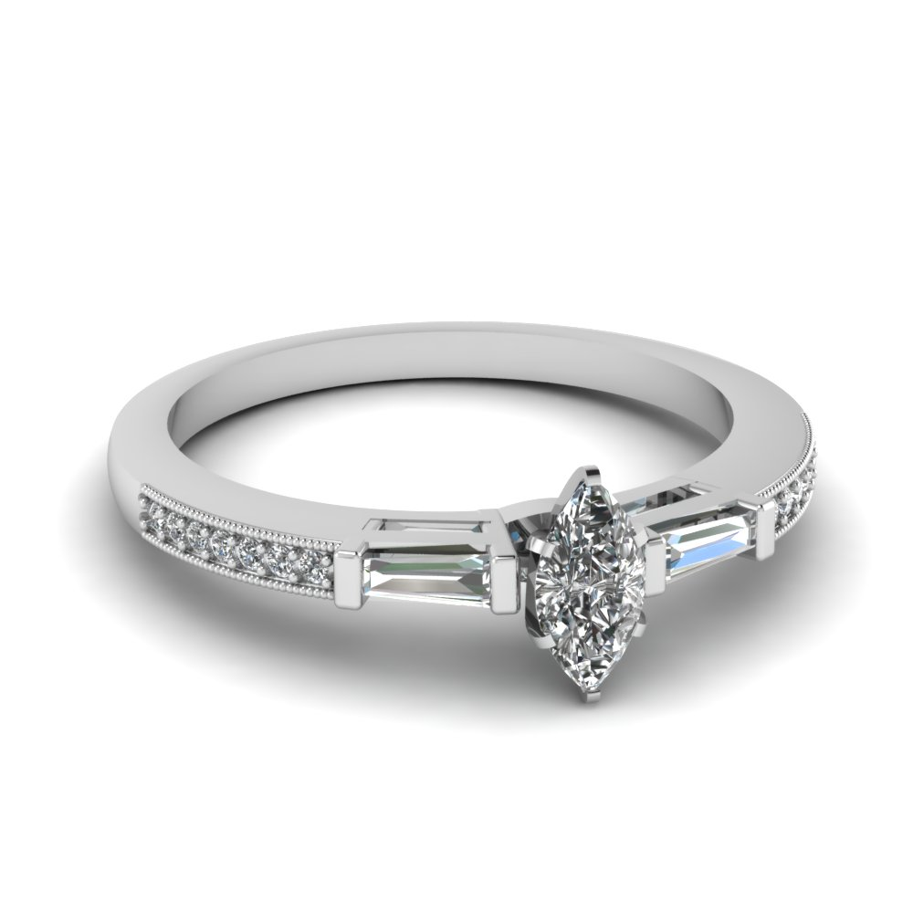 White Gold Marquise Diamond Petite Rings