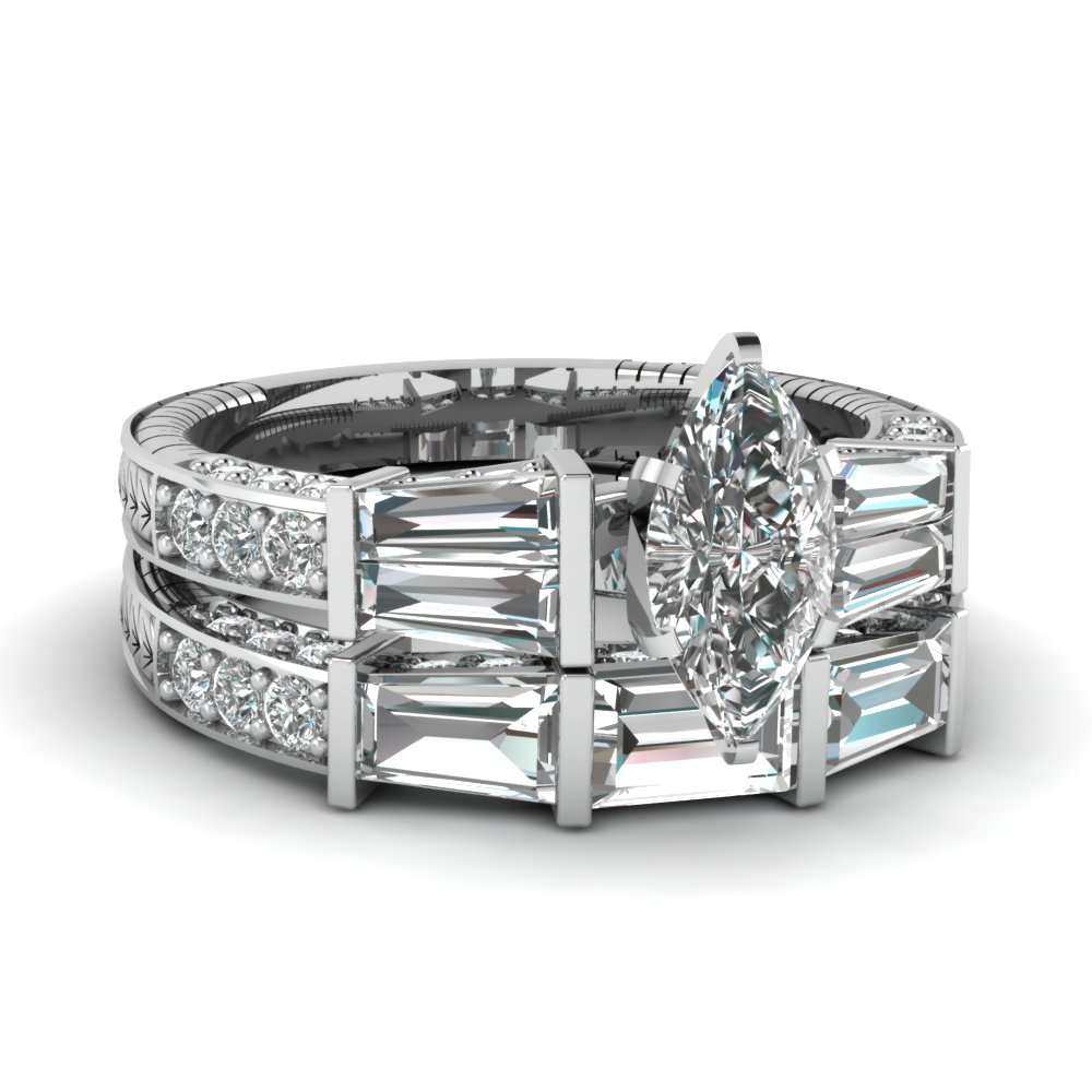 white gold marquise white diamond engagement wedding ring