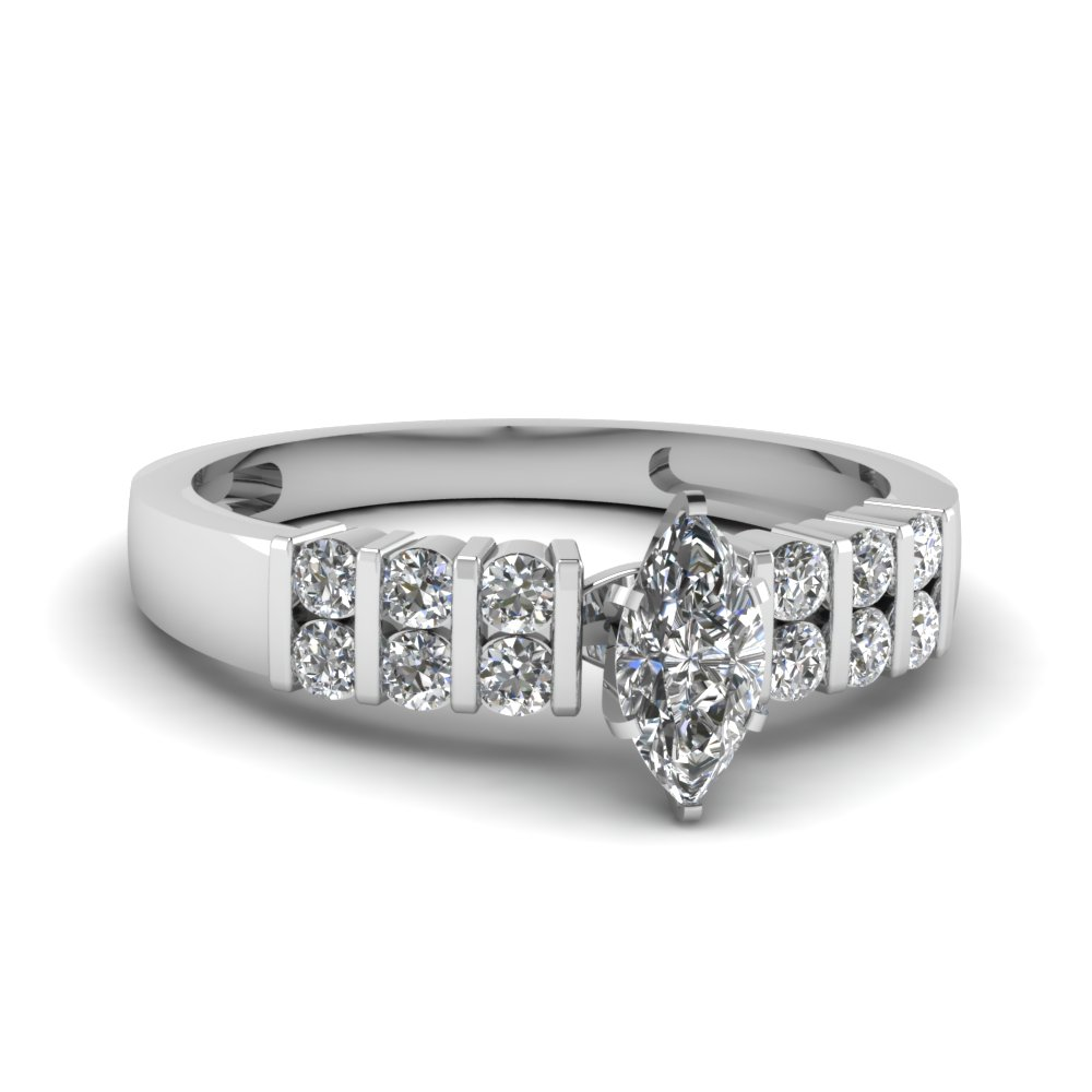 Marquise Cut Diamond Ring With Round Accents