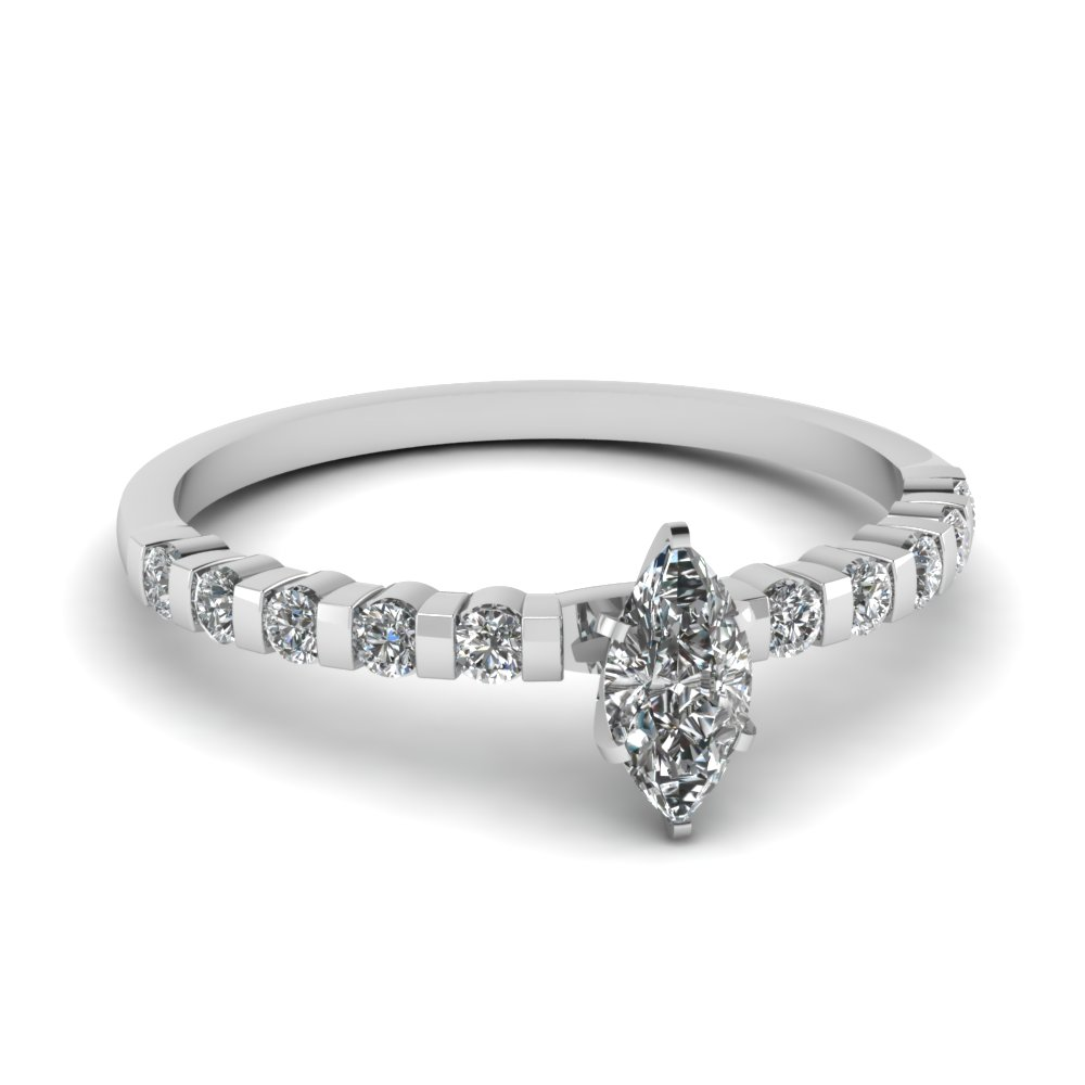 Affordable Platinum Marquise Cut Diamond Engagement Ring Bar Set