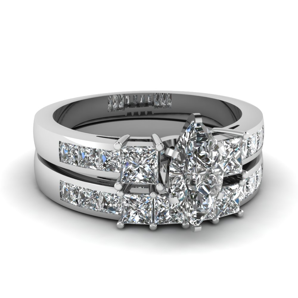 marquise shaped wedding ring sets with white