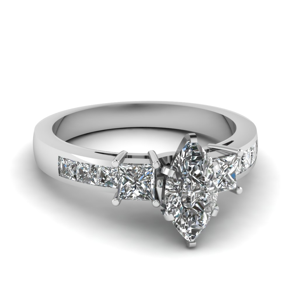 white gold marquise white diamond engagement wedding ring - Marquise Wedding Ring