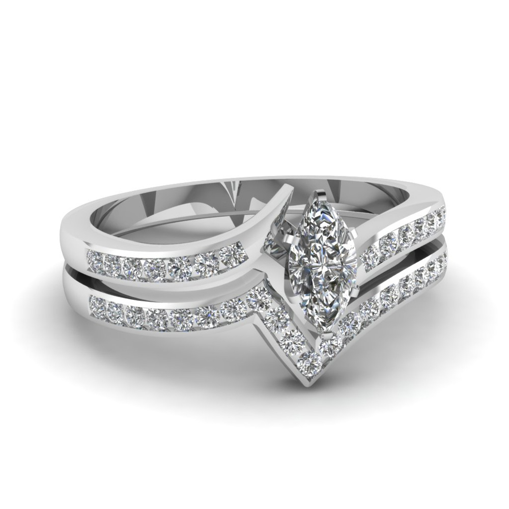 twist channel marquise diamond wedding set in FDENS3094MQ NL WG 30
