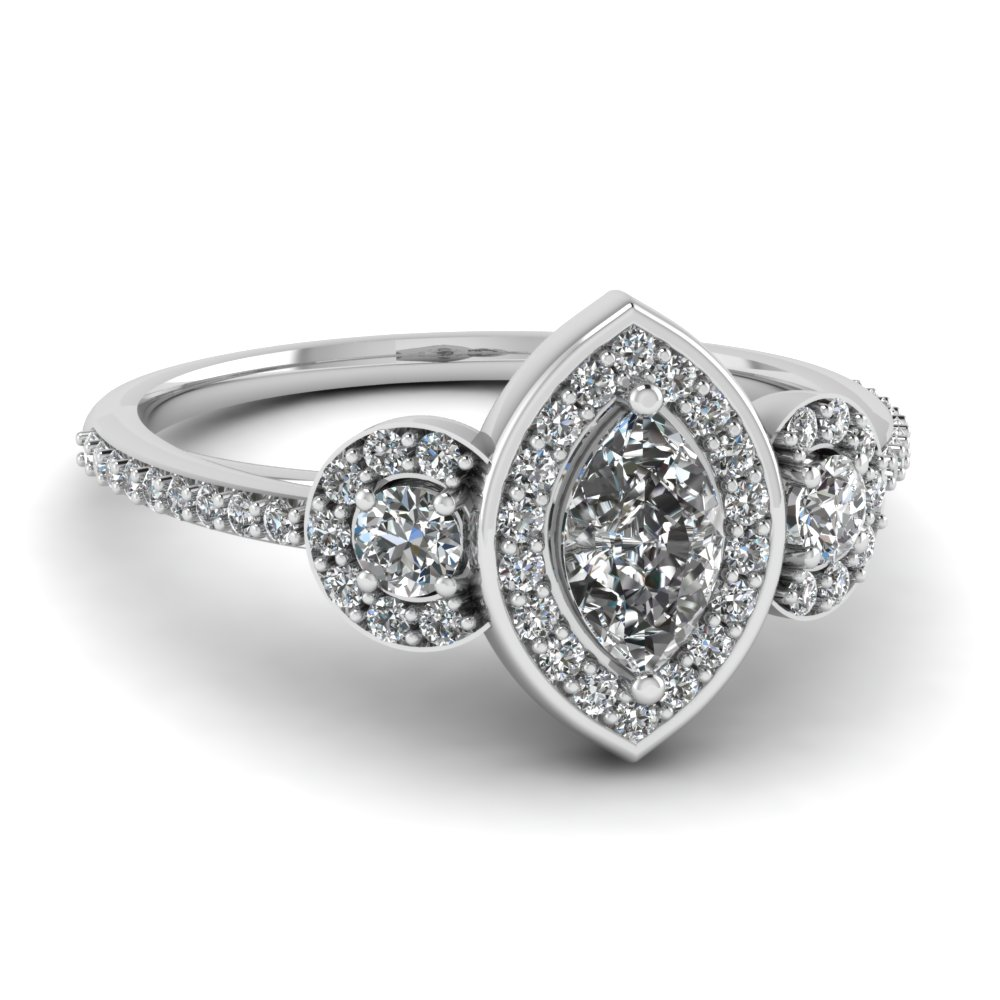 Marquise Halo Engagement Rings