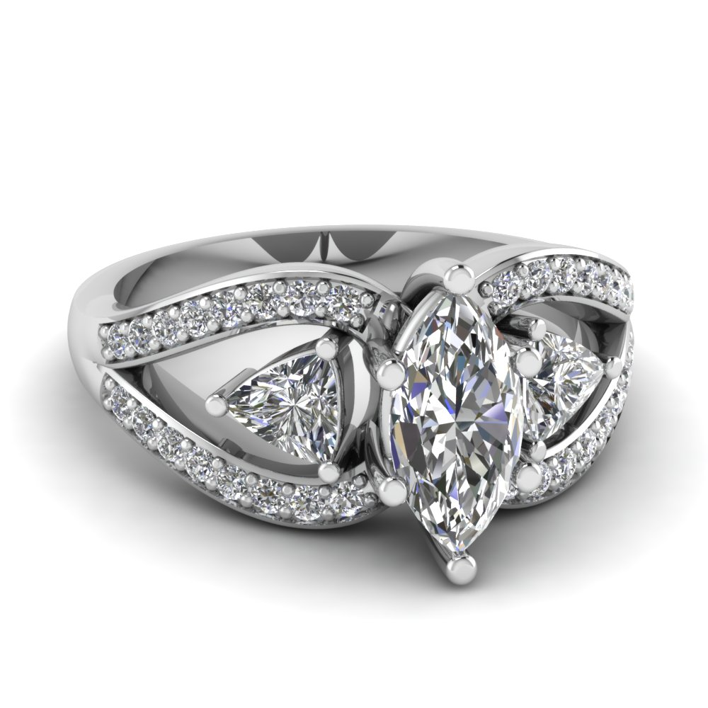 white gold marquise white diamond engagement wedding ring - Marquis Wedding Ring