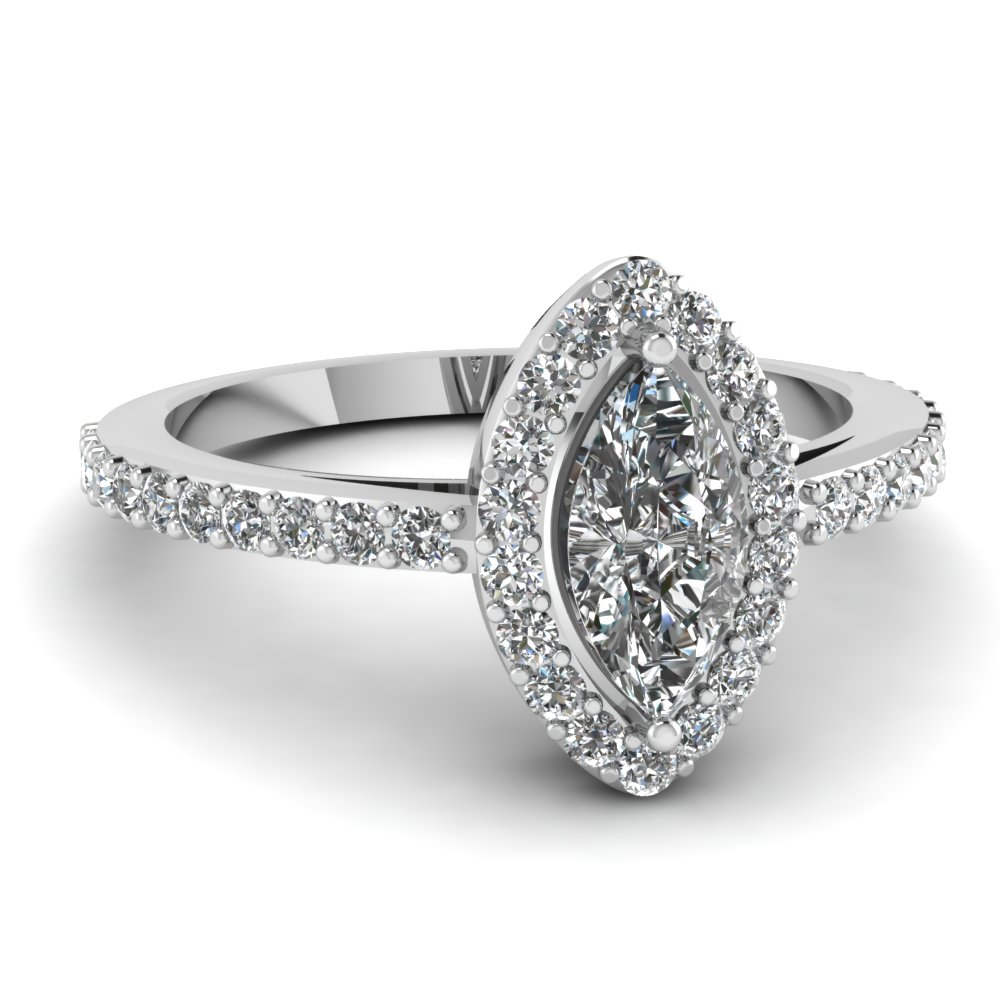 white gold marquise white diamond engagement wedding ring in pave set fascinating diamonds - Marquis Wedding Ring