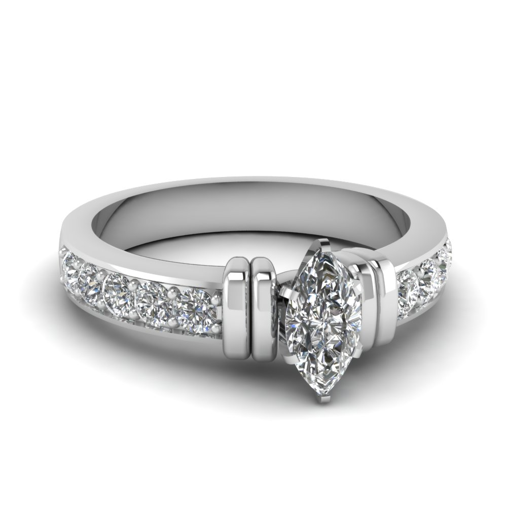 simple bar set marquise diamond engagement ring in FDENR957MQR Nl WG