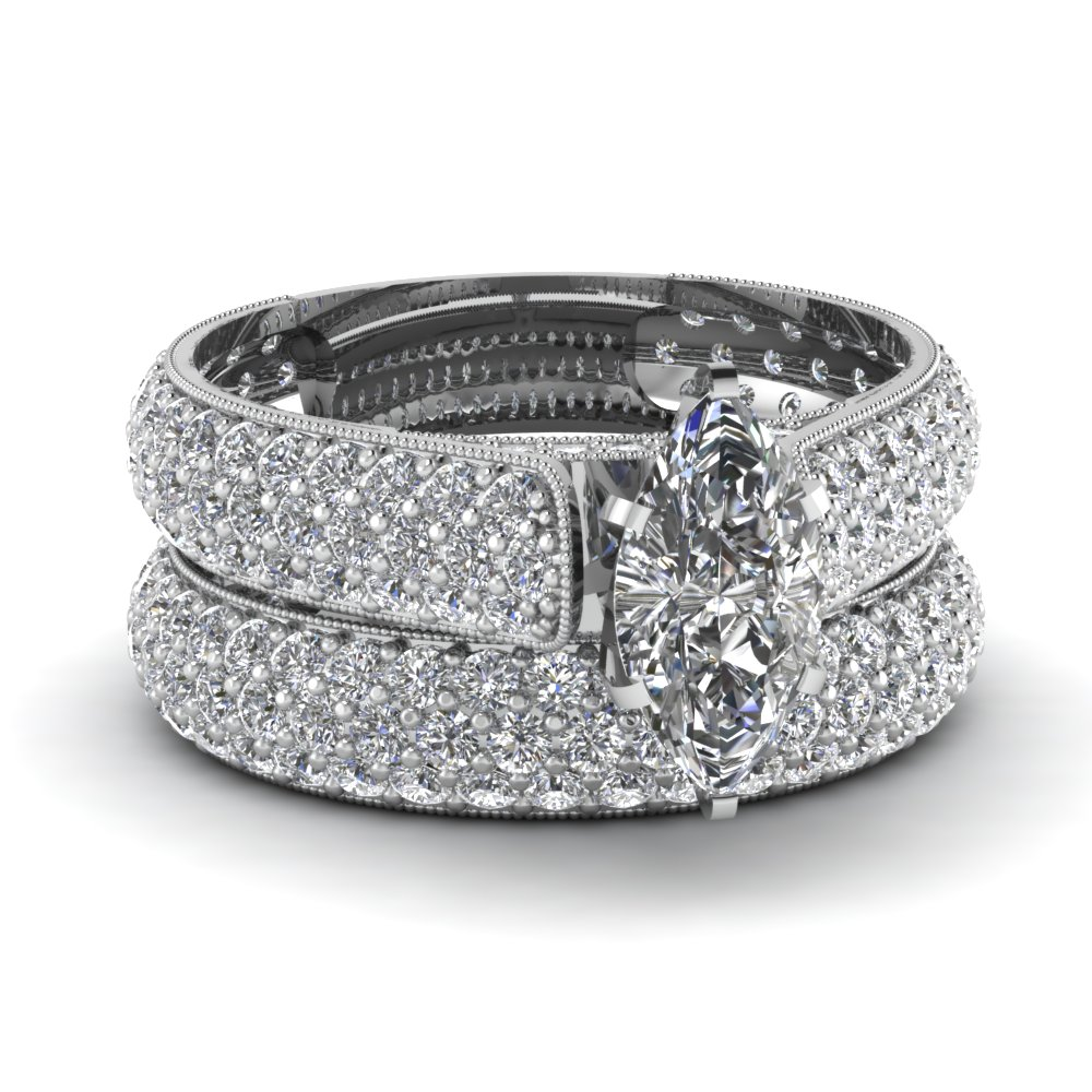 White Gold Marquise White Diamond Engagement Wedding Ring In Pave Set Fasci