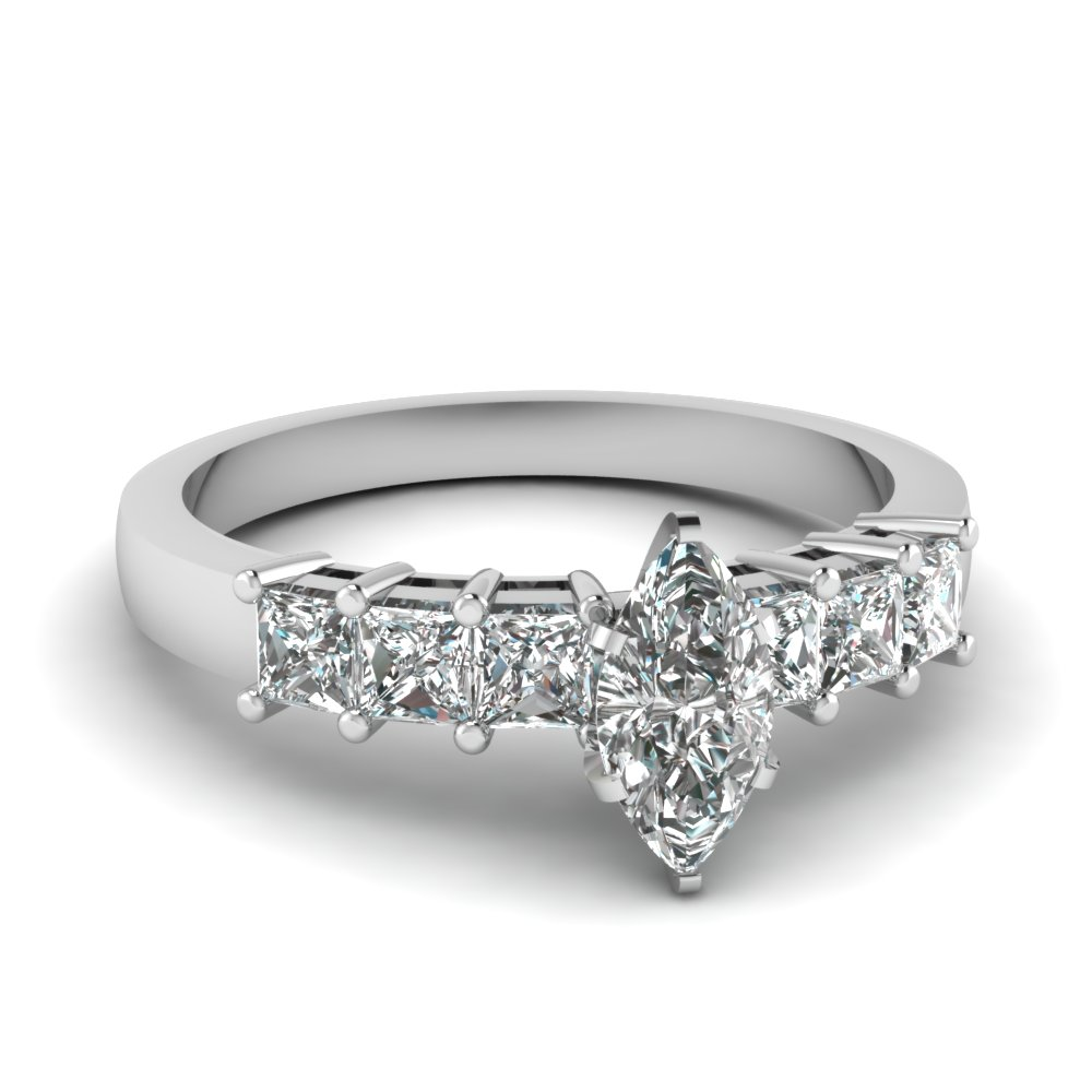 Princess Cut Accent Diamond Ring