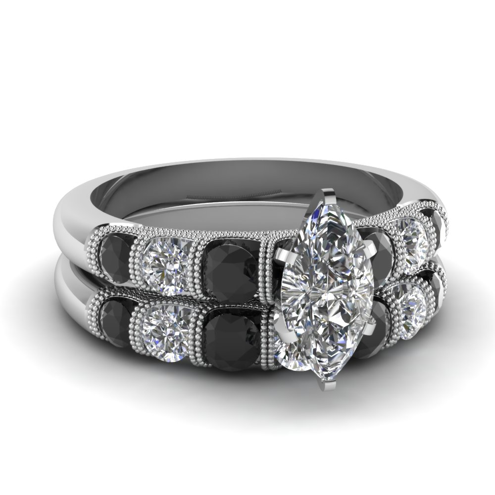 Marquise Shaped Black Diamond Wedding Sets