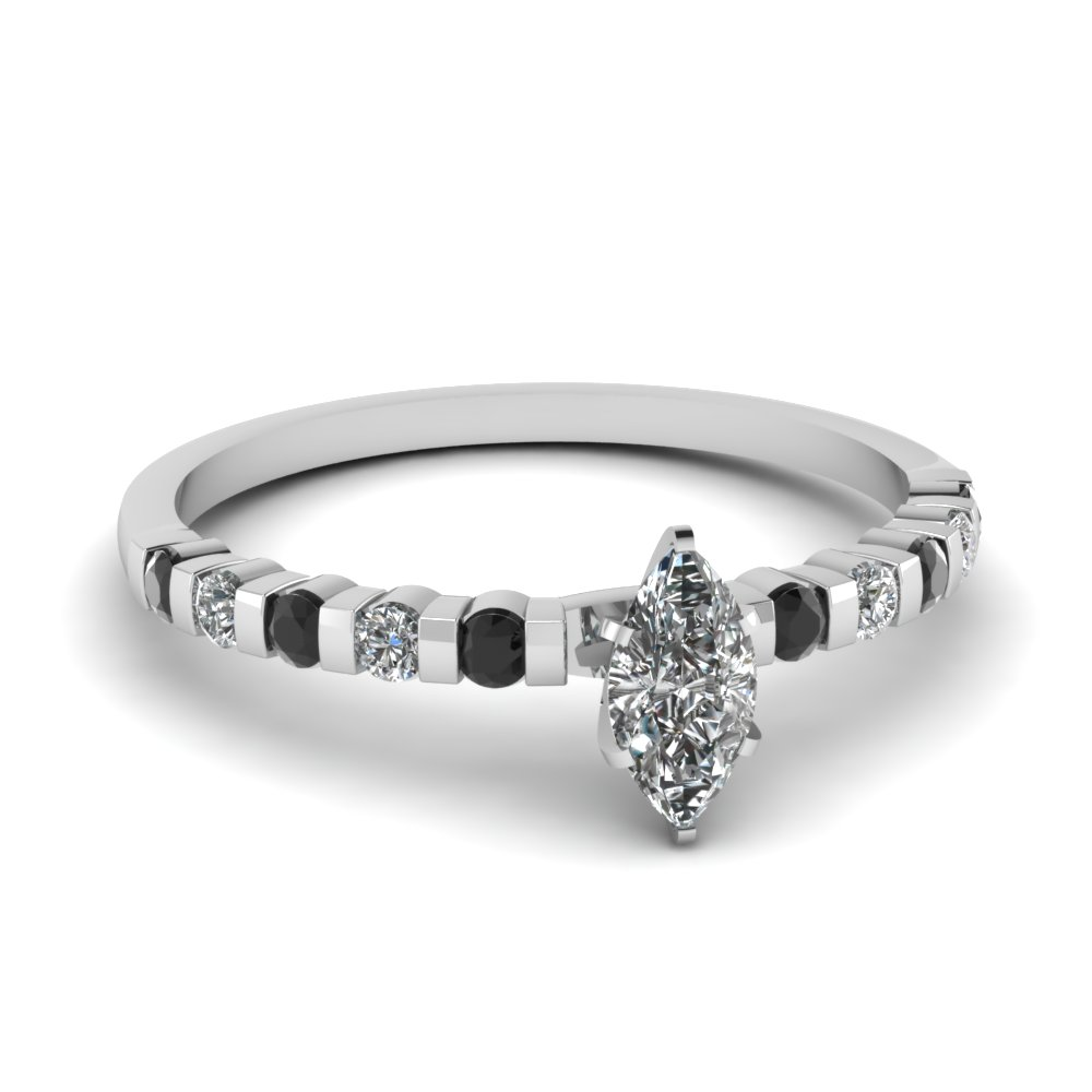 Black Diamond Bar Set Engagement Ring
