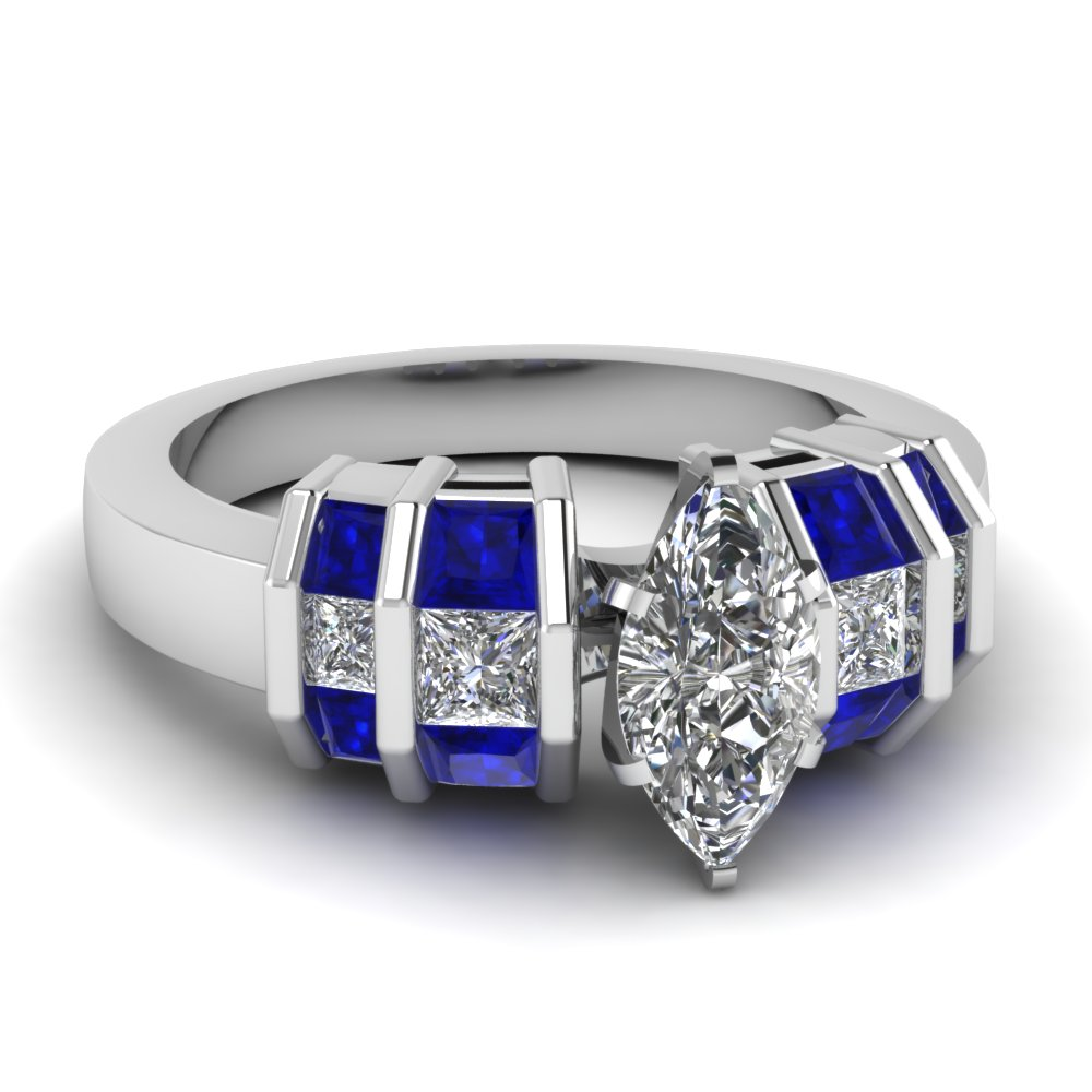 wide bar set marquise diamond engagement ring with sapphire in FDENR2906MQRGSABL NL WG