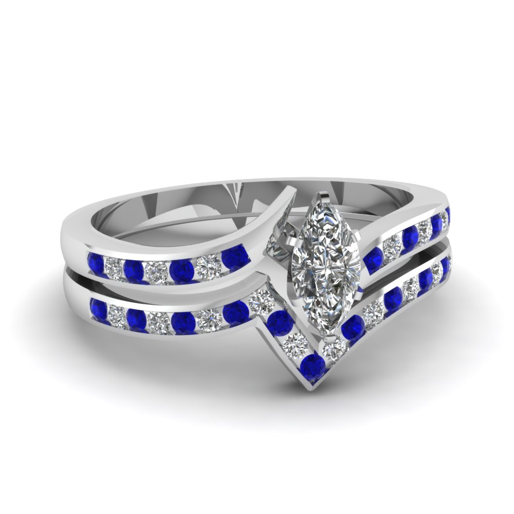 Twist Channel Marquise Diamond Wedding Set With Sapphire In 14k