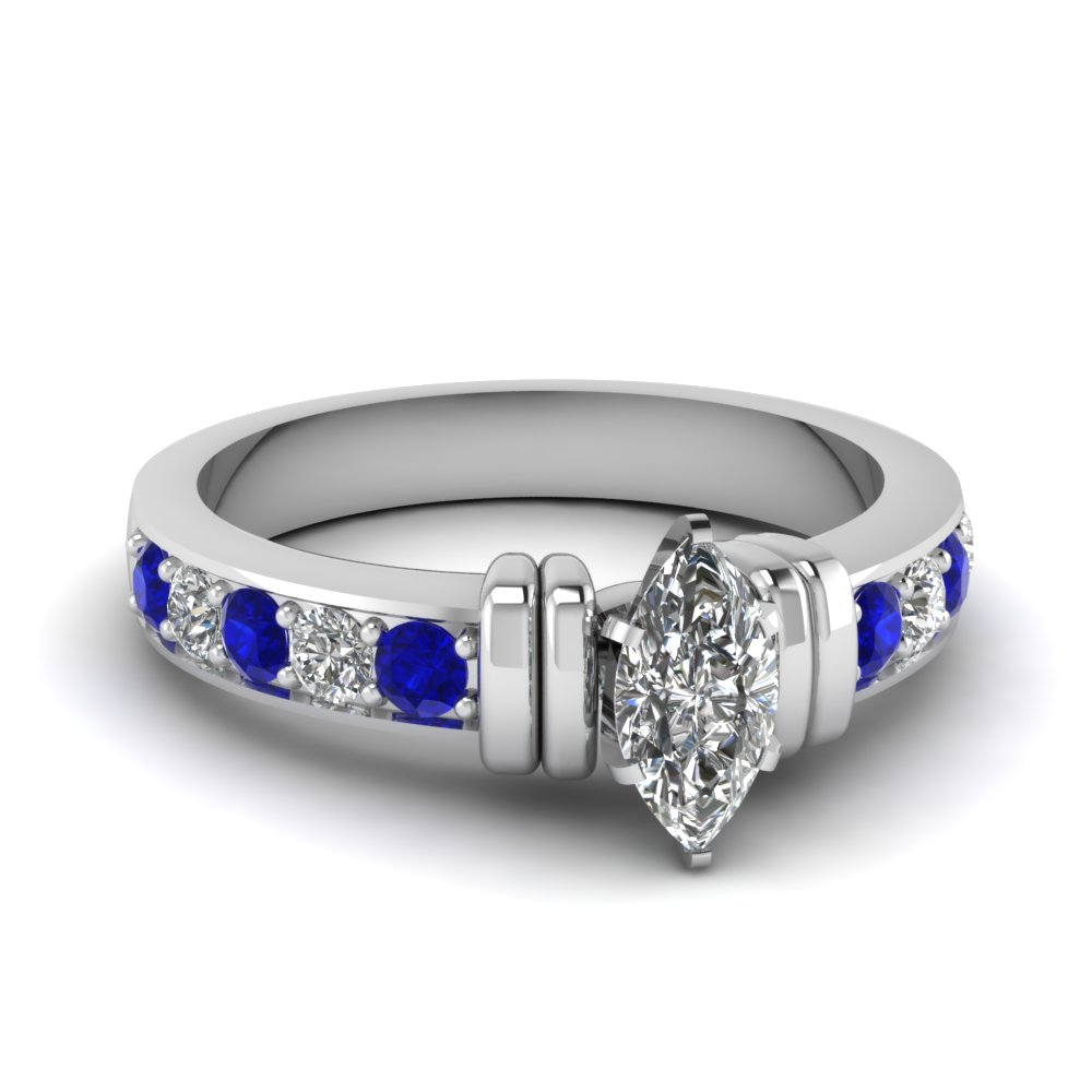 simple bar set marquise diamond engagement ring with sapphire in FDENR957MQRGSABL Nl WG