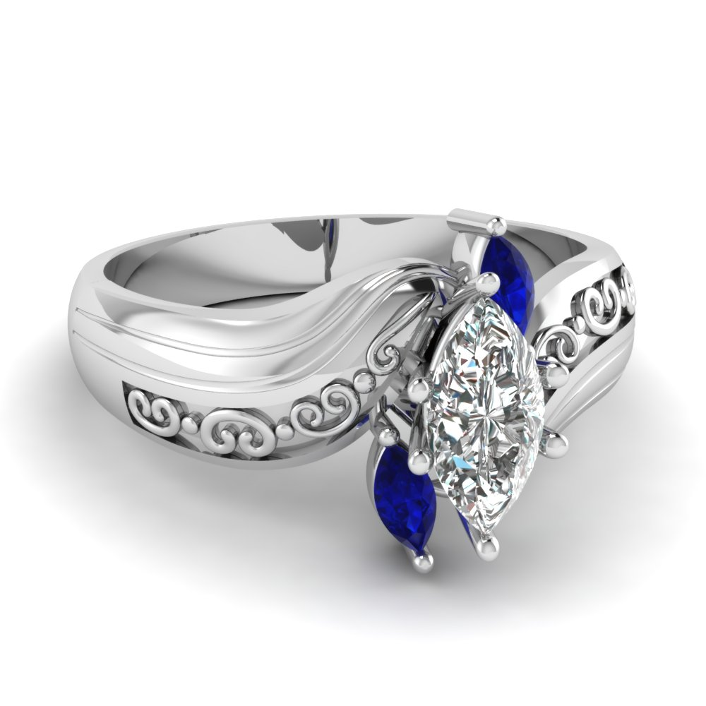 white gold marquise white diamond engagement wedding ring with blue sapphire in prong set fascinating diamonds - Sapphire And Diamond Wedding Rings