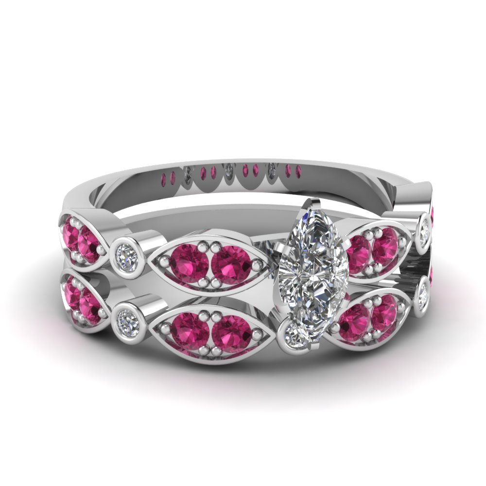 art deco marquise diamond wedding ring set with pink sapphire in FDENS2035MQGSADRPI NL WG