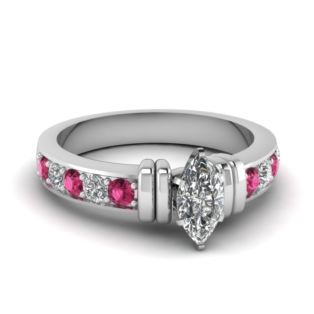 simple bar set marquise lab diamond engagement ring with pink sapphire in FDENR957MQRGSADRPI Nl WG