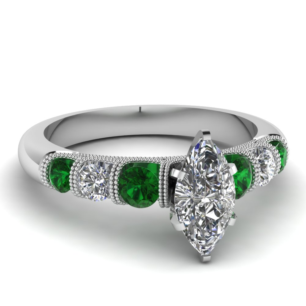 milgrain prong bar set marquise diamond engagement ring with emerald in FDENS1783MQRGEMGR NL WG