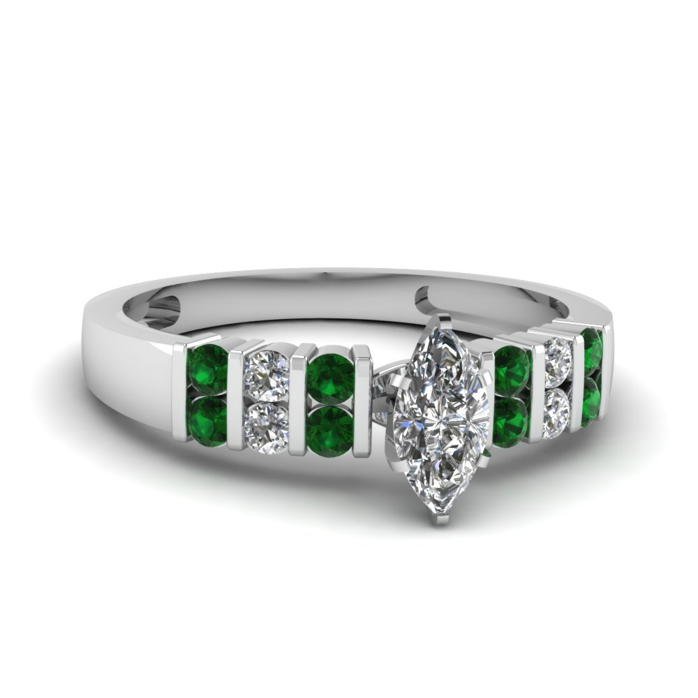 Marquise Wedding Ring With Emerald