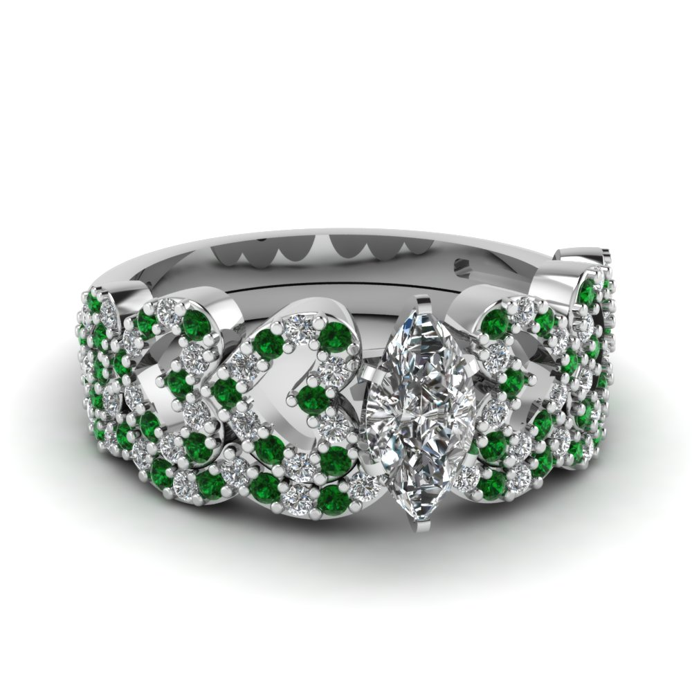 marquise shaped heart design linked diamond wedding set with emerald in FDENS3051MQGEMGR NL WG.jpg
