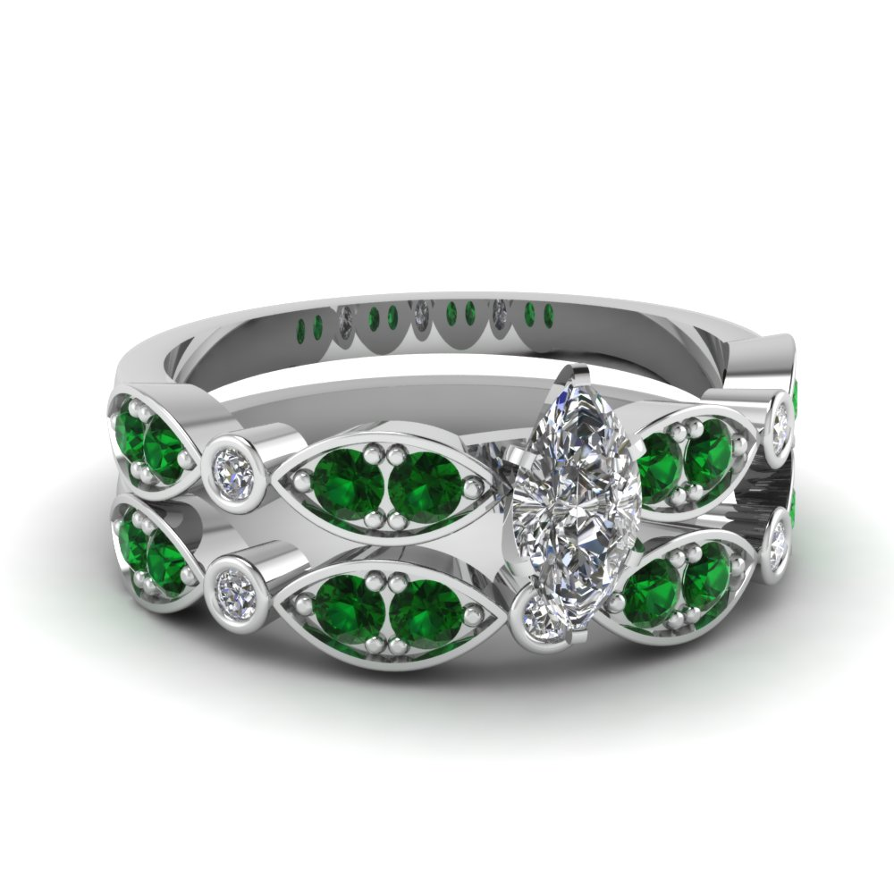 art deco marquise diamond wedding ring set with emerald in FDENS2035MQGEMGR NL WG