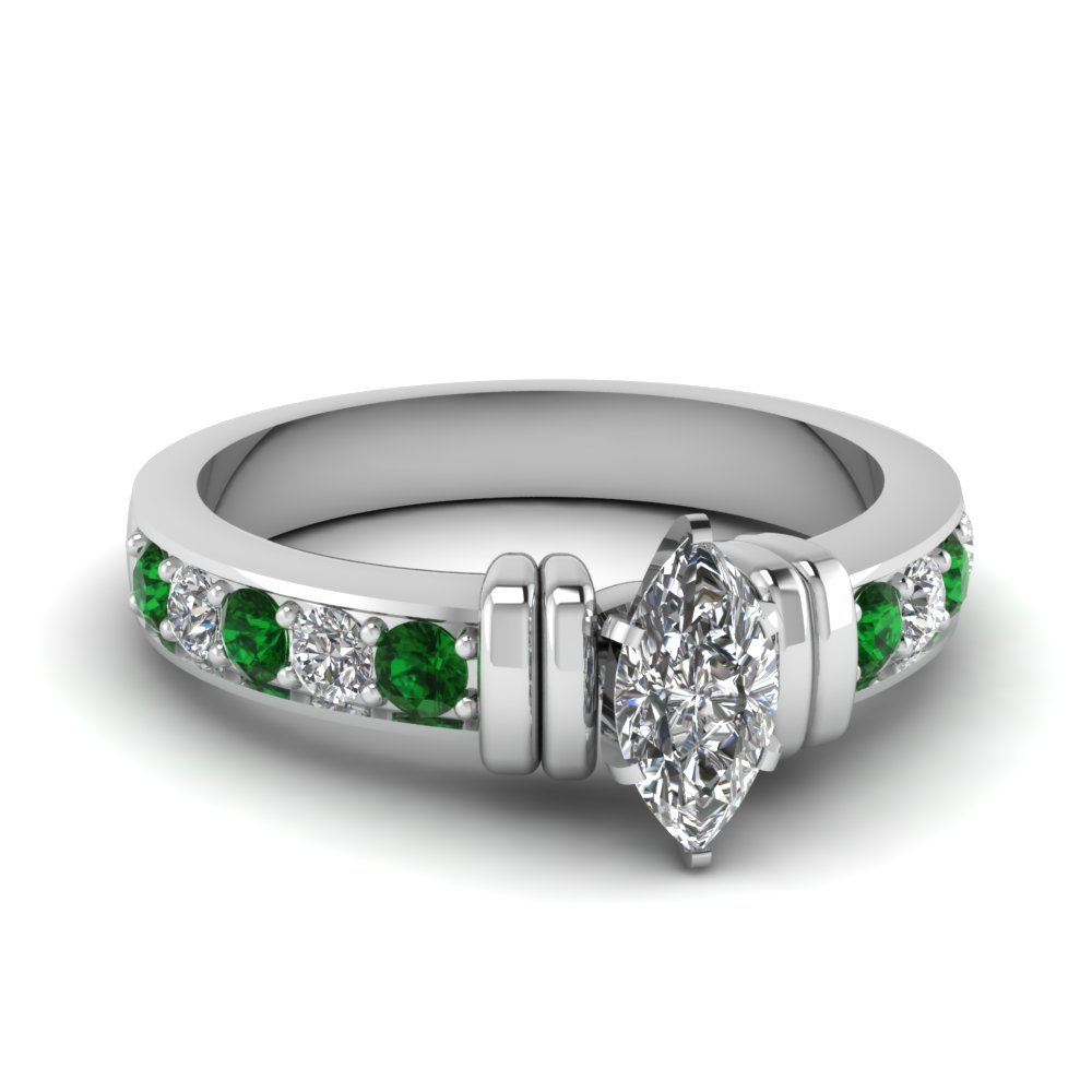 simple bar set marquise lab diamond engagement ring with emerald in FDENR957MQRGEMGR Nl WG