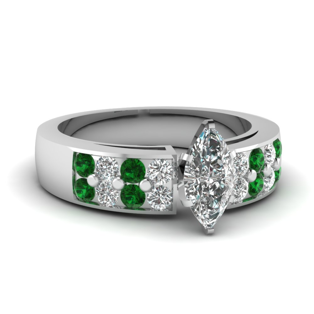 Diamond And Emerald Thick Band Ring