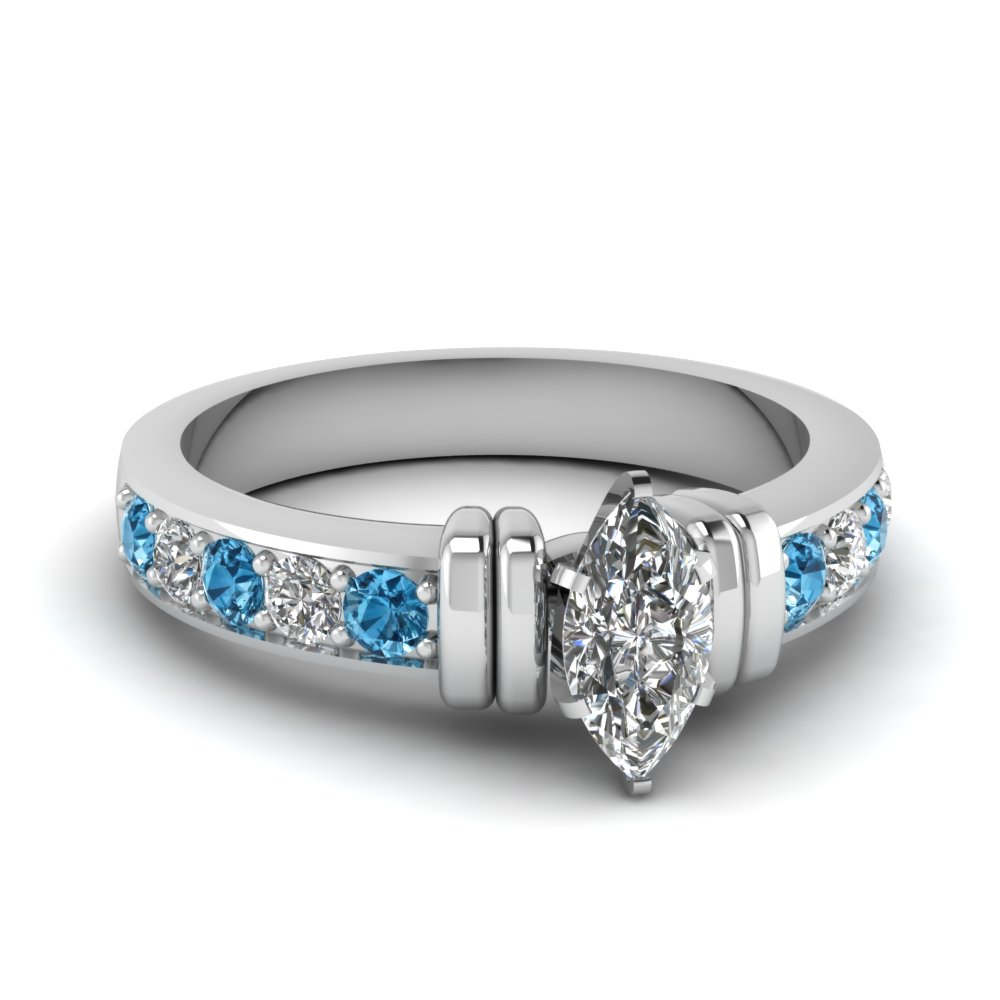 simple bar set marquise diamond engagement ring with blue topaz in FDENR957MQRGICBLTO Nl WG