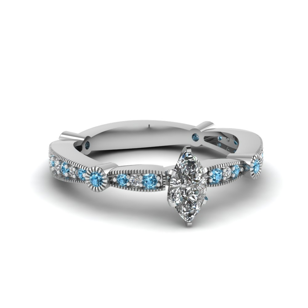 marquise diamond vintage tapered engagement ring with blue topaz in FDENS3026MQRGICBLTO NL WG