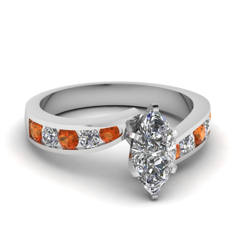 marquise shaped swirl channel diamond engagement ring with orange sapphire in FDENS4028MQRGSAOR NL WG.jpg