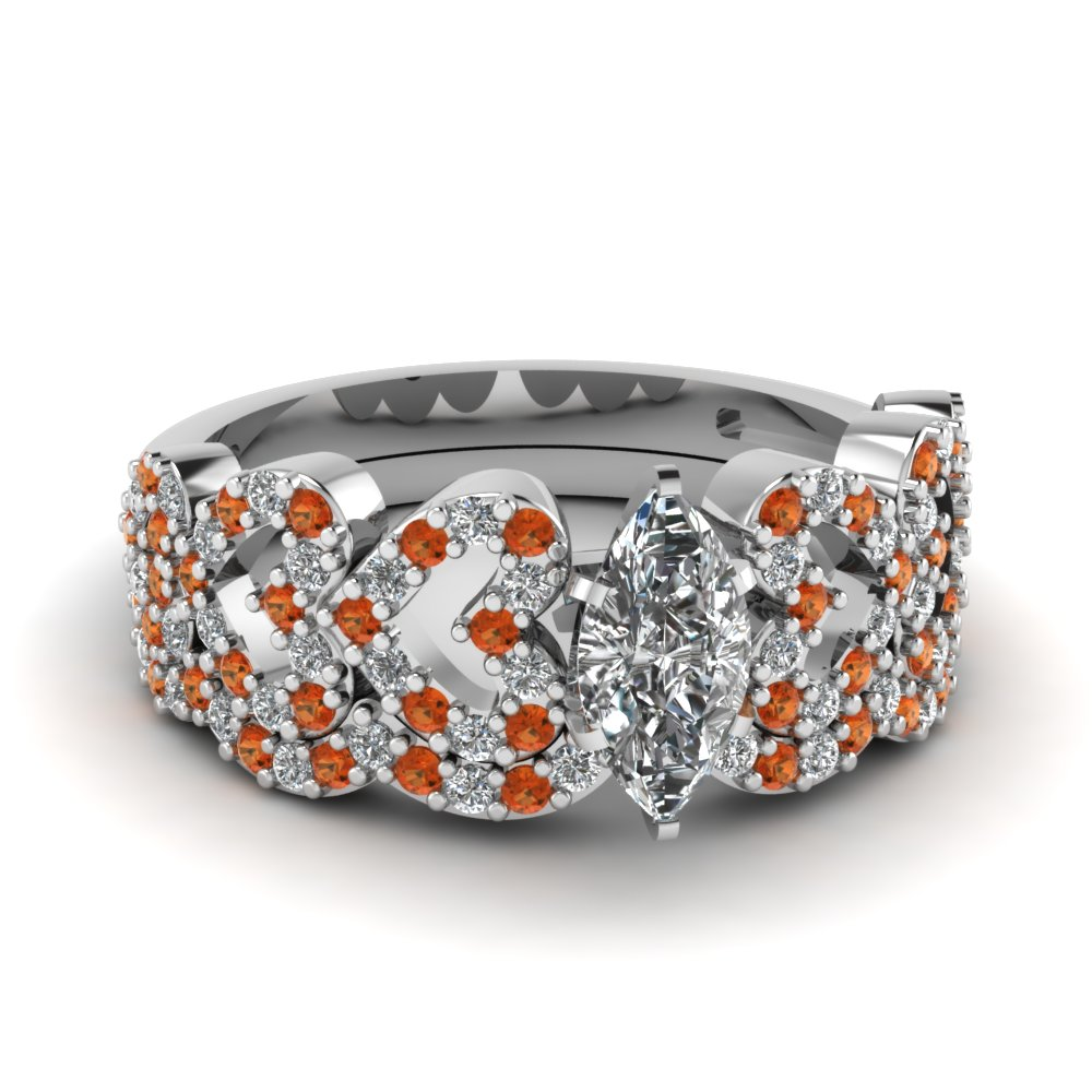 marquise shaped heart design linked diamond wedding set with orange sapphire in FDENS3051MQGSAOR NL WG.jpg