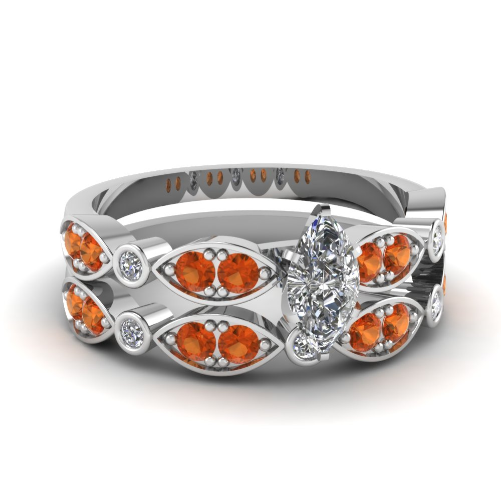 art deco marquise diamond wedding ring set with orange sapphire in FDENS2035MQGSAOR NL WG