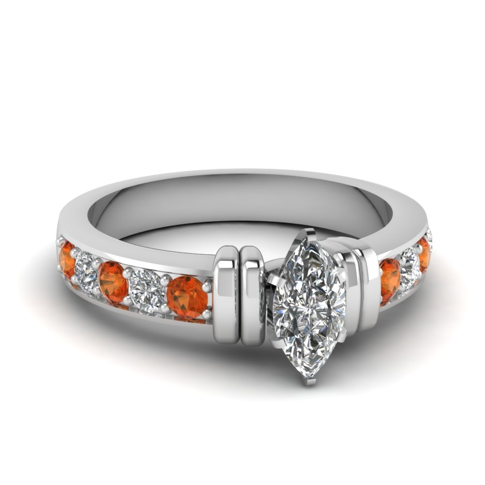 simple bar set marquise moissanite engagement ring with orange sapphire in FDENR957MQRGSAOR Nl WG