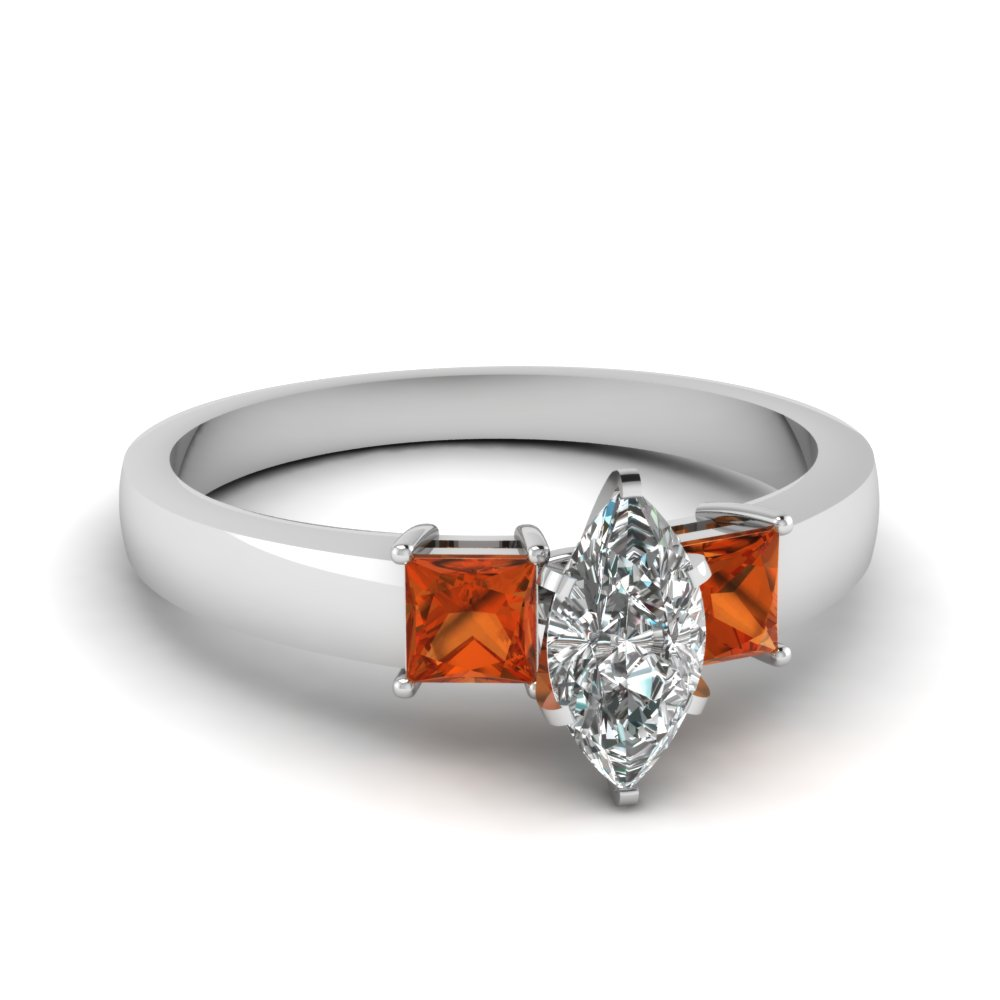 dainty 3 stone marquise cut moissanite engagement ring with orange sapphire in FDENS1024MQRGSAOR NL WG